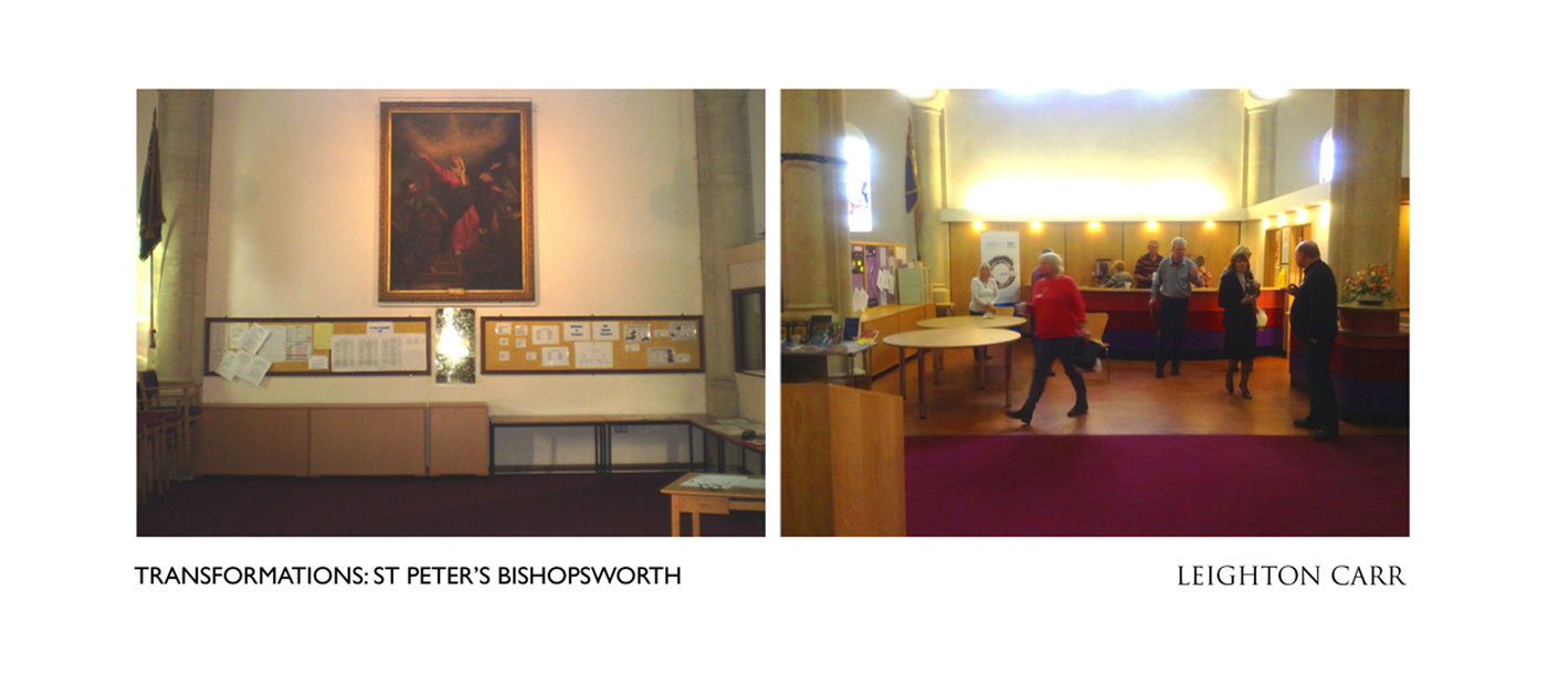 Before - a dull west wall with enormous painting: After -  a bright bistro servery